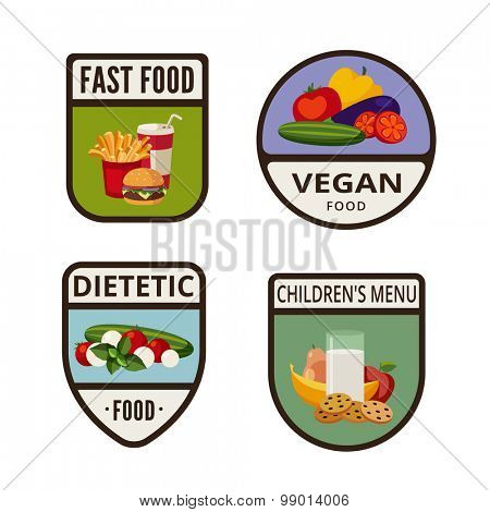 Fast Food vintage labels design vector logo templates icons.  Fastfood Logotype set. Vegan, Diet, Fruit retro illustrations.