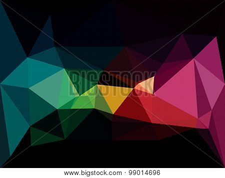 Vector low poly background. Abstract dark diamond backdrop in red and green colors