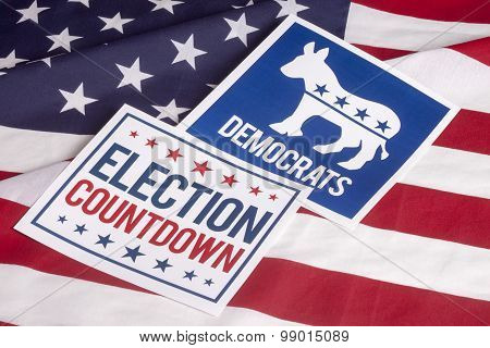 Democrat Election Vote Countdown And American Flag
