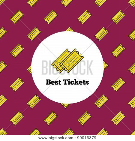 Vector logo. Yellow theater or cinema tickets logotype with seamless pattern