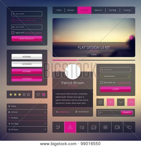 Vector set of web elements in flat style. Trendy website design. UI kit with icons and modern blurre