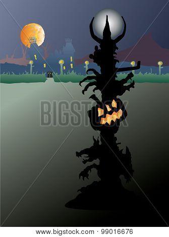Halloween lamp in spooky landscape.