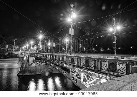 Svatopluk Cech Bridge In Prague In Black And White