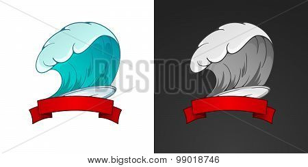 Surfing Illustration And Emblem With Lettering. Stylized Image Of Surfboard, Waves, Ribbons In Vinta