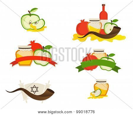 rosh hashana labels and icons.  Jewsh holiday