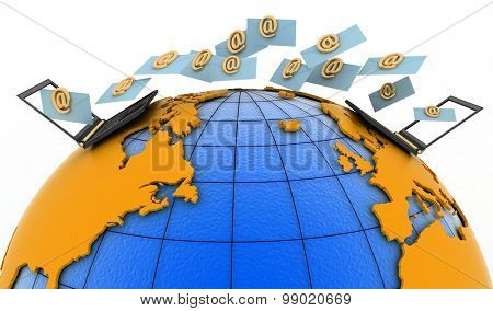 Laptops with incoming e-mails on the globe. 3d render illustration