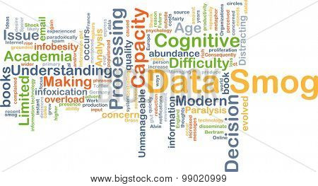 Background concept wordcloud illustration of data smog