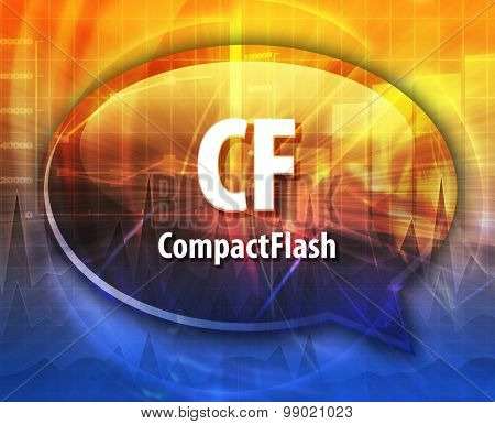 Speech bubble illustration of information technology acronym abbreviation term definition CF Compact Flash