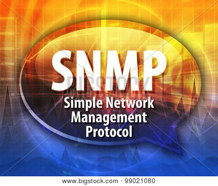 Speech bubble illustration of information technology acronym abbreviation term definition SNMP Simple Network Management Protocol