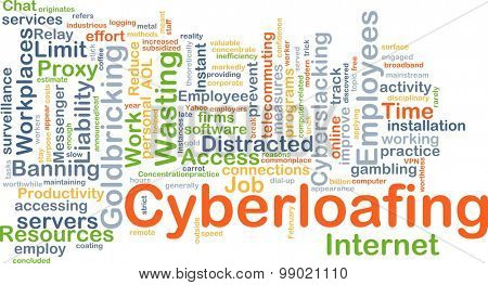 Background concept wordcloud illustration of cyberloafing