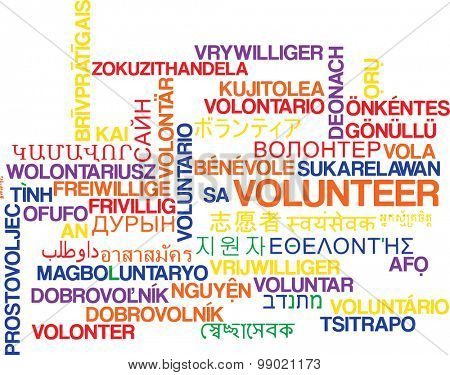 Background concept wordcloud multilanguage international many language illustration of volunteering