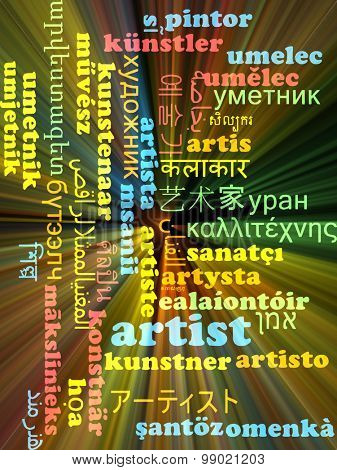 Background concept wordcloud multilanguage international many language illustration of artist glowing light