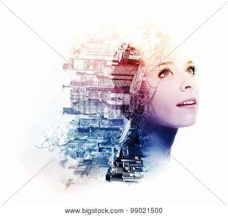 Double Exposure Of Young Woman With Metropolis And Doogwood