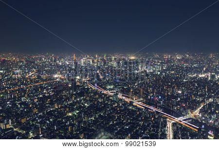 Night Cityscape High Above Tokyo, Japan From Atop The Tokyo Skytree