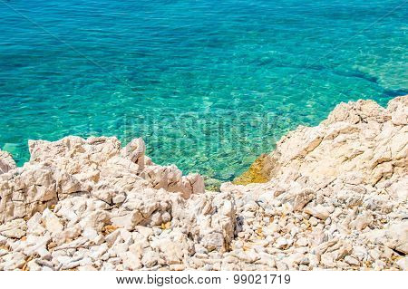 Rocky Coastline And Crystal Clear Blue Adriatic Sea