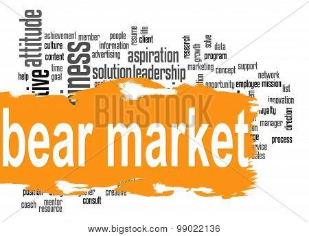 Bear Market Word Cloud With Orange Banner