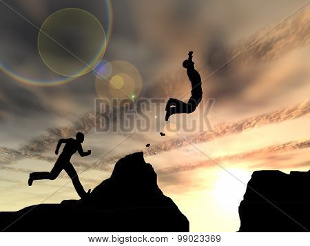 Concept or conceptual young 3D man or businessman silhouette jump happy from cliff over  gap sunset or sunrise sky background
