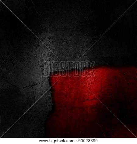Grunge black background on a dirty red texture