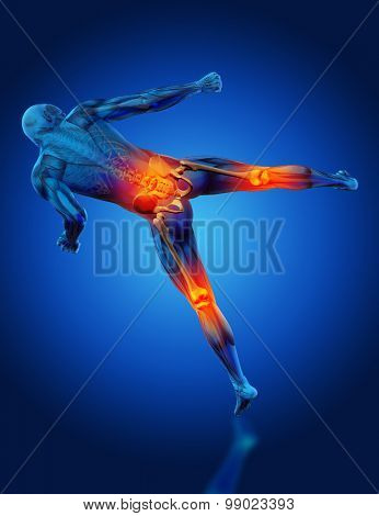 3D render of a male medical figure in kick boxing pose with knees and spine highlighted
