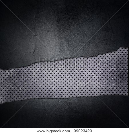 Grunge texture background with cracked concrete and perforated metal