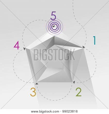 Pentagon with 5 step process, eps10 vector