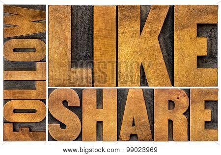 like, share, follow word abstract  - social media concept - isolated text in vintage letterpress wood type printing blocks