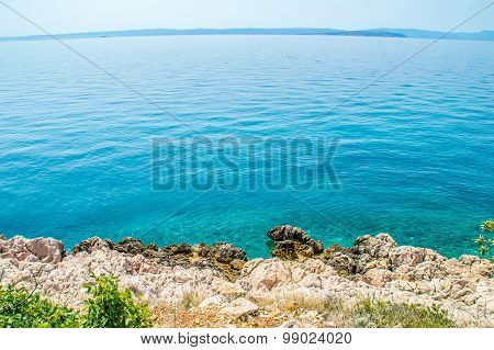 Rocky Coastline With Bushes By The Adriatic Sea