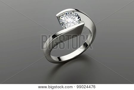 Gold Ring with Diamond. Jewelry  background