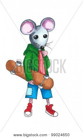From the series mouse - teen with skateboard