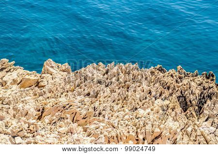 Rocky Coastline With Crystal Clear Blue Adriatic Sea