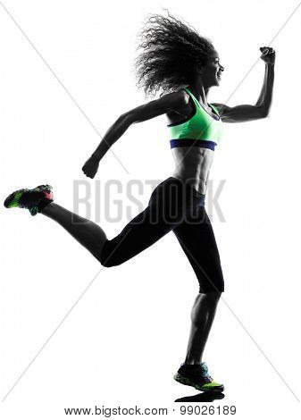 one african woman runner jogger running jogging  in studio silhouette isolated on white background