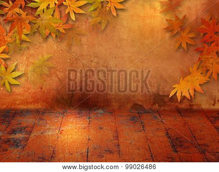 Autumn background in grunge style with fall leaves