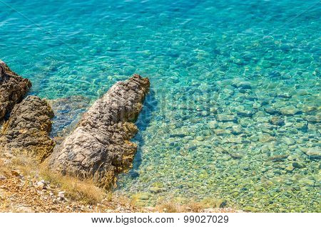 Crystal Clear Blue Adriatic Sea Rocky Beach