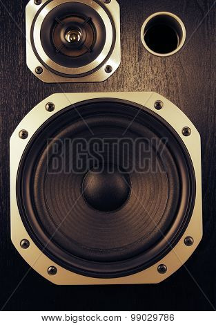 Closeup of stereo speakers