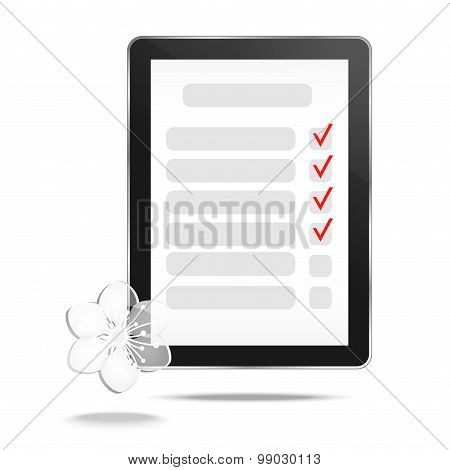 Abstract tablet with checking off tasks and flower