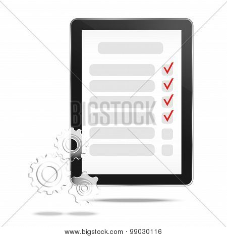 Abstract tablet with checking off tasks and gear