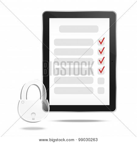 Abstract tablet with checking off tasks and lock