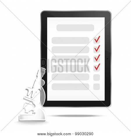 Abstract tablet with checking off tasks and microscope