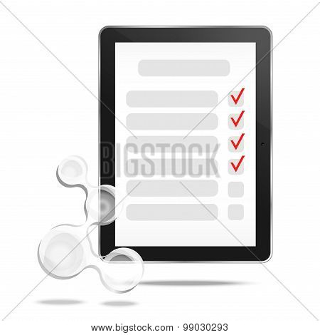 Abstract tablet with checking off tasks and molecule
