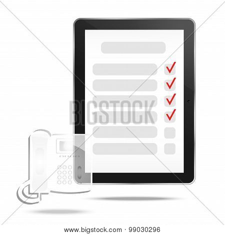 Abstract tablet with checking off tasks and telephone