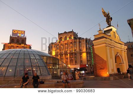 Independence square in Kiev at night