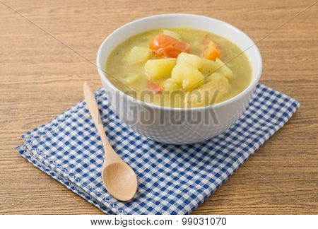 Bowl Of Curry Stew With Potato And Tomato