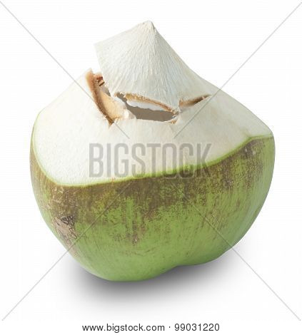 Fresh Coconut Water On A White Background