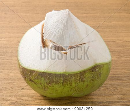 Fresh And Sweet Coconut On A Table