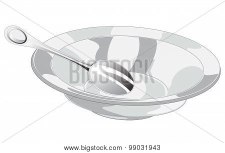 Empty plate and spoon