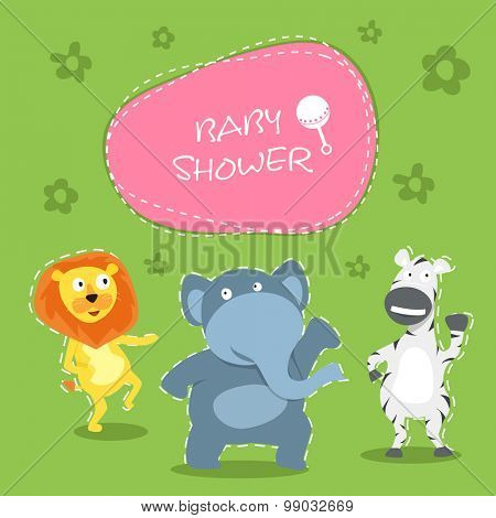Cute creative cartoon of animals with stylish text over green background for baby shower celebrations, can be used as greeting card or invitation card design.
