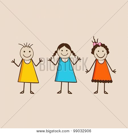 Three happy girls wearing stylish clothes in the mood of playing and dancing.