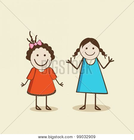 Two smiling girls wearing stylish clothes in the mood of playing and dancing.