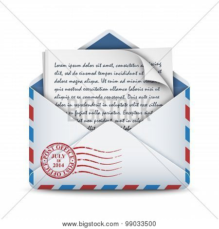 Envelope Icon With A Letter, Stock Vector