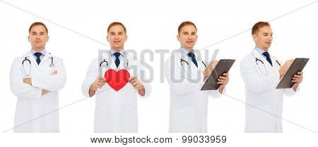 medicine, profession, cardiology, charity and health care concept - doctors with red heart and clipboard